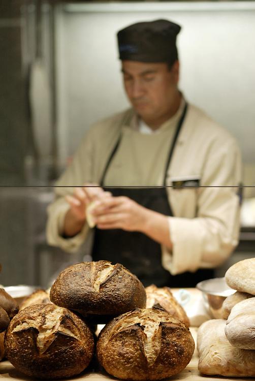 LAS VEGAS, NV - FEBRUARY 9, 2005:  A chef prepares fresh baked bread in Sensi restaurant in the Bellagio in Las Vegas, Nevada, on February 9, 2005.  (Photo by Todd Bigelow/Aurora)