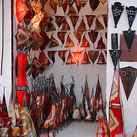 North Africa, Africa, Morocco, Marrakesh. A Moroccan lamp and lighting shop.