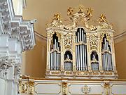 Noto il famoso paese tutelato dall'Unesco per l'architettura barocca..Le canne dell'organo della chiesa di San Carlo.Noto, the famous village protected from Unesco for his baroque architecture..The organ pipes of San Carlo church.