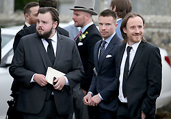 Actors (left to right) John Bradley, Joe Dempsie and Ben Crompton leave Rayne Church, Kirkton of Rayne in Aberdeenshire, after the wedding ceremony of Game Of Thrones stars Kit Harington and Rose Leslie.