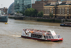© Licensed to London News Pictures. 17/07/2014. Stock image taken July 2013 of City Cruises' Millennium Time vessel. Hundreds of passengers from the vessel were today evacuated after it collided with a barge on the Thames near the OXO tower. Credit : Rob Powell/LNP