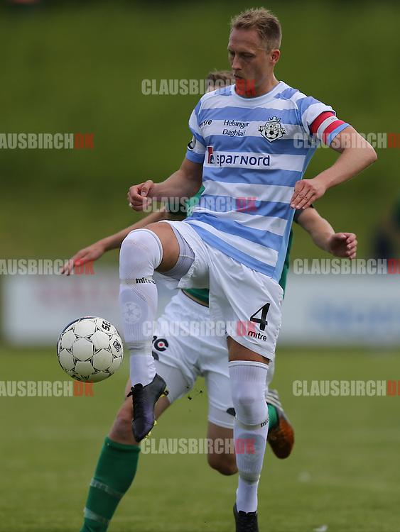 FODBOLD: Bobby Alm Nilsson (FC Helsingør, #4) under kampen i 2. Division Øst mellem Avarta og FC Helsingør den 29. maj 2014 i Espelunden. Foto: Claus Birch