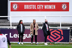 Megan Wynne of Bristol City Women and Tanya Oxtoby manager of Bristol City Women and Jesse Woolley of Bristol City Women prior to kick off - Mandatory by-line: Ryan Hiscott/JMP - 18/10/2020 - FOOTBALL - Twerton Park - Bath, England - Bristol City Women v Birmingham City Women - Barclays FA Women's Super League