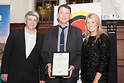 NO FEE PICTURES                                                                                                                                                                  24/1/20 Eoghan Corry, Travel Extra with Best Northern Ireland sponsored by Tourism Northern Ireland. Jamie Ball and Fiona Cunningham, Tourism Northern Irelan at the Travel Extra Travel Journalist of the Year Awards at Thomas Prior House, Ballsbridge at a ceremony to coincide with the annual Holiday World Show in the RDS Simmonscourt in Dublin. Picture: Arthur Carron