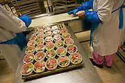 Female employees prepares salads destined for airline meals by Gate Gourmet at Heathrow Airport. .