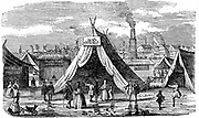 Frost Fair on the Thames at London, c1734-1740. Woodcut 1838.