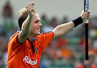 WK Hockey. Nederland-Zuid Afrika 3-0. Vreugde bij Piet Hein Geeris als hij de stand op 3-0 heeft gebracht.
