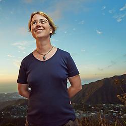 "LA POSSESSION (Dos d'Ane), LA RÉUNION, FRANCE. NOVEMBER 10, 2013. Karin Sigloch, Assistant Professor in Geophysics, studying sismology around the Réunion Island's volcano, here at ""Dos d'Ane"". Photo: Antoine Doyen"