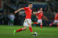 James Chester of Wales in action. Wales v Northern Ireland, International football friendly match at the Cardiff City Stadium in Cardiff, South Wales on Thursday 24th March 2016. The teams are preparing for this summer's Euro 2016 tournament.     pic by  Andrew Orchard, Andrew Orchard sports photography.
