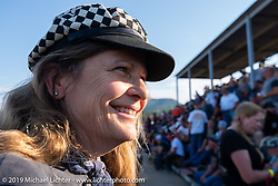 Motorcycle themed writer and Hall of Famer Cris Simmons Sturgis Black Hills Motorcycle Rally. Sturgis, SD, USA. Monday, August 5, 2019. Photography ©2019 Michael Lichter.
