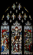 Victorian stained glass window of Christ in his Majesty, by Horwood 1840s, Mells church, Somerset, England, Uk