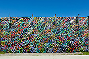 Hearts by the street artist Hektad on an exterior fence of the Coney Island Art Walls.