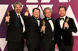 Paul Lambert, Ian Hunter, Tristan Myles, and J.D.Schwalm with the award for best visual effects for First Man in the press room at the 91st Academy Awards held at the Dolby Theatre in Hollywood, Los Angeles, USA