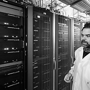 Kael Hanson in the IceCube Laboratory where the data is processed from the DOM's