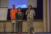 Purchase, NY – 31 October 2014. The team from Palisade Preparatory School presenting. (Left to right: Troy Edwards, Aleah Blair, Tyquana Johnson,) The Business Skills Olympics was founded by the African American Men of Westchester, is sponsored and facilitated by Morgan Stanley, and is open to high school teams in Westchester County.