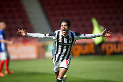 Dunfermline's Faissal El Bahktaoui cele scoring their first goal. <br /> Half time : Dunfermline 4 v 0 Cowdenbeath, SPFL Ladbrokes League Division One game played 15/8/2015 at East End Park.