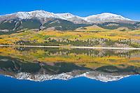 Reflections of 14,433 ft. Mount Elbert in Mount Elbert Forebay during the autumn season.  Sawatch Range, Colorado.