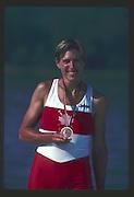 Banyoles, SPAIN, BRONZE Medalist,  CAN W1X SILKEN LAUMANN,  awards dock, holding her Bronze medal. 1992 Olympic Regatta, Lake Banyoles, Barcelona, SPAIN.   [Mandatory Credit: Peter Spurrier: Intersport Images]