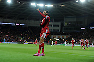 Hal Robson-Kanu of Wales celebrates after he scores his sides 2nd goal. Euro 2016 qualifying group B match, Wales v Cyprus at the Cardiff city Stadium in Cardiff, South Wales on Monday 13th Oct 2014.<br /> pic by Andrew Orchard, Andrew Orchard sports photography.