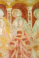 Romanesque fresco of the Apostles in the altar vault of the Norman Church of St Mary's Kempley Gloucestershire, England, Europe .<br /> <br /> Visit our MEDIEVAL PHOTO COLLECTIONS for more   photos  to download or buy as prints https://funkystock.photoshelter.com/gallery-collection/Medieval-Middle-Ages-Historic-Places-Arcaeological-Sites-Pictures-Images-of/C0000B5ZA54_WD0s