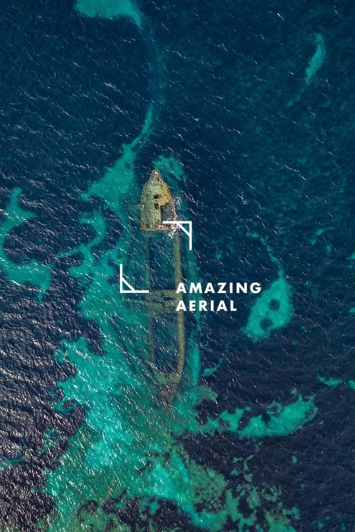 Aerial view of shipwreck Michelle near Veli rat, Dugi otok island, Croatia.