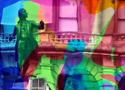 © under license to London News Pictures. LONDON, UK  17/05/2011. The sculpture of Sir Joshua Reynolds reflected in 'Coloring Book' by artist Jeff Koons which was unveiled today (17 May 2011), ahead of the Summer Exhibition, in the Royal Academy's Annenberg Courtyard. Jeff Koons was elected Honorary Royal Academician in 2010. Photo credit should read Stephen Simpson/LNP.