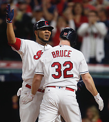October 5, 2017 - Cleveland, OH, UKR - The Cleveland Indians' Jay Bruce (32) is greeted at home plate by Edwin Encarnacion after his two-run home run against the New York Yankees in the fourth inning during Game 1 of the American League Division Series on Thursday, Oct. 5, 2017, at Progressive Field in Cleveland. (Credit Image: © Leah Klafczynski/TNS via ZUMA Wire)