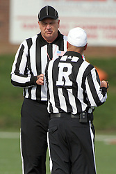 20 October 2012:  Umpire Steve Flanagan speaks with Referee Curt Johnson during an NCAA Missouri Valley Football Conference football game between the Missouri State Bears and the Illinois State Redbirds at Hancock Stadium in Normal IL