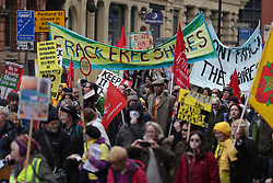 © Licensed to London News Pictures . 12/11/2016 . Manchester , UK . Anti Fracking demonstration in Manchester City Centre . Photo credit : Joel Goodman/LNP