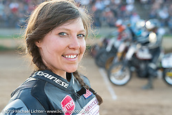 20th Century Racing's Spirit of Sturgis race promoter Brittney Olsen at the Spirit of Sturgis races at the fairgrounds during the Sturgis Black Hills Motorcycle Rally. Sturgis, SD, USA. Monday, August 5, 2019. Photography ©2019 Michael Lichter.