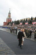 Moscow, Russia, 09/05/2005..Russian President Vladimir Putin and wife Ludmilla arrive for the military parade in Red Sqaure marking the 60th anniversary of victory in the Great Patriotic War.