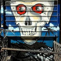 Skull graffiti mural
