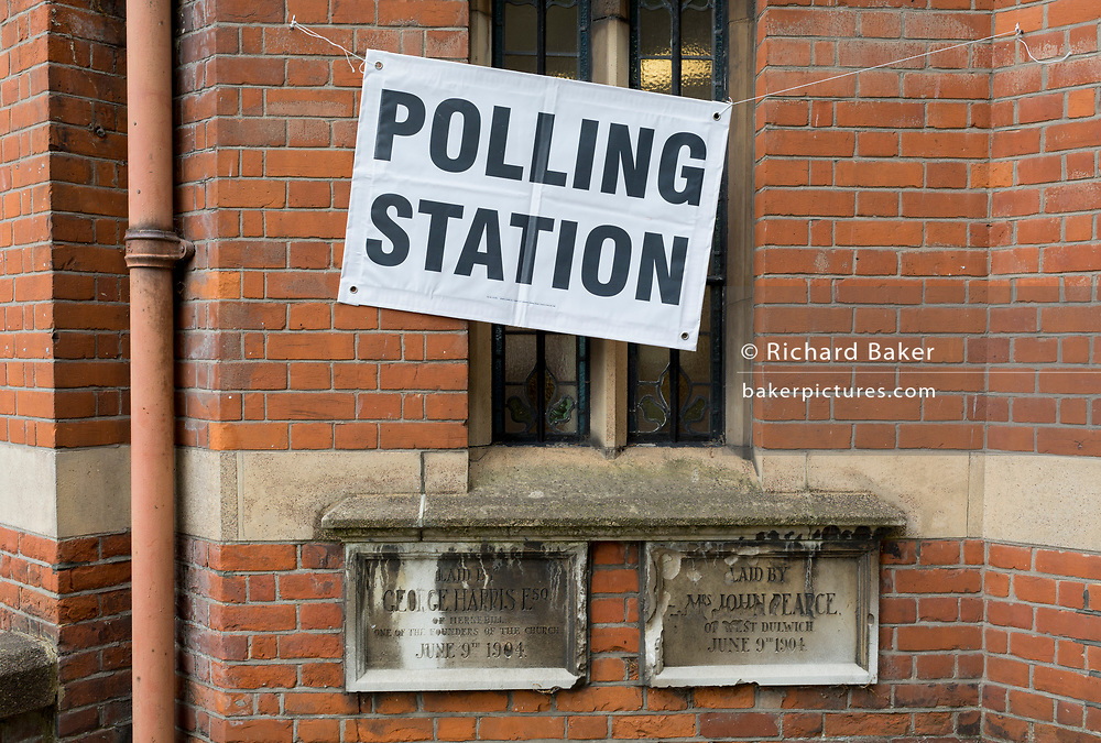 Exterior of polling station on the morning of the UK's 2017 general elections outside the Edwardian-era Baptist church in Half Moon Lane in herne Hill, on 8th June 2017, in London, England.