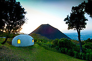 Volcano National Park or Cerro Verde in El Salvador overlooks the Izalco Volcano.  The igloo's are cabins for overnight sleeping.  (Property Released)