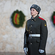 CAPTION: A soldier stands guard at the Hall of War Glory, built to commemorate those that lost their lives during World War II's Battle of Stalingrad. LOCATION: Hall of War Glory, Mamayev Kurgan, Volgograd, Russia. INDIVIDUAL(S) PHOTOGRAPHED: Unknown.