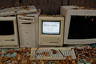Rest In Peace Steve Jobs -- (from left) Mac Plus, Mac 8100, Mac SE, Mac Monitor
