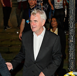 © Licensed to London News Pictures. 24/09/2016. Liverpool, UK. Shadow chancellor JOHN MCDONNELL leaves the venue after celebrating the re-elected of Labour Party Leader Jeremy Corbyn at a party organised by Momentum in Liverpool.  Photo credit: Ben Cawthra/LNP