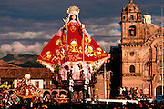 PERU, FESTIVALS Corpus Christi Festival in Cuzco, with the famous processions around Plaza de Armas carrying santos