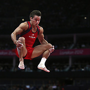 Samuel Mikulak, USA, in action in the Gymnastics Artistic, Men's Apparatus, Vault Final at the London 2012 Olympic games. London, UK. 6th August 2012. Photo Tim Clayton