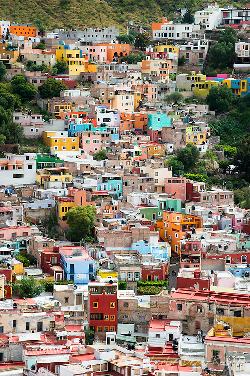 Looking east over Guanajuato, Mexico, from high above the city – from near the top of the funicular and the statue of El Pipila.