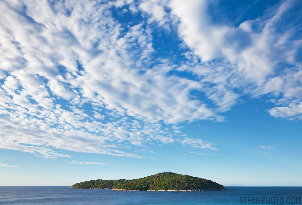 """The island of Otok Lokrum just off the coast from Dubrovnik, Croatia.<br /> <br /> Dubrovnik serves as the official setting of """"King's Landing"""" from the popular TV show """"Game of Thrones""""."""