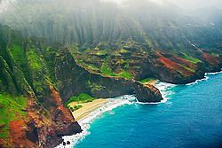 Honopu Beach and Arch, Na Pali coast, Kauai, Hawaii, Pacific Ocean