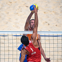 Richard Schuil of Netherlands, in action on the center court of the Chaoyang Park Beach Stadium on August 18, 2008 in Beijing
