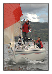 Sailing - The 2007 Bell Lawrie Scottish Series hosted by the Clyde Cruising Club, Tarbert, Loch Fyne..The third days racing on Loch Fyne with a mix of weather from the North and West...CYCA Class 8 KUDOS GBR7266.