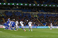 Christian Atsu of Newcastle Utd (far right) scores his teams 1st goal from a free-kick.  EFL Skybet championship match, Cardiff city v Newcastle Utd at the Cardiff City Stadium in Cardiff, South Wales on Friday 28th April 2017.<br /> pic by Andrew Orchard, Andrew Orchard sports photography.