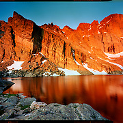 Sunrise at Chasm Lake, Rocky Mountain National Park. 4x5 Kodak Ektar 100. photo by Nathan Lambrecht