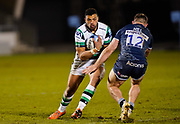 Sale Sharks centre Sam Hill tackles Newcastle Falcons centre Luther Burrell during a Gallagher Premiership Round 12 Rugby Union match, Friday, Mar 05, 2021, in Eccles, United Kingdom. (Steve Flynn/Image of Sport)
