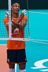 09-08-2019 NED: FIVB Tokyo Volleyball Qualification 2019 / Netherlands, - Korea, Rotterdam<br /> First match pool B in hall Ahoy between Netherlands - Korea (3-2) for one Olympic ticket / Nimir Abdelaziz #14 of Netherlands