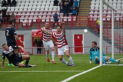 Hamilton's Anthony Andreu cele scoring their goal.<br /> Half time : Hamilton 1 v 0 Falkirk, Scottish Championship played today at New Douglas Park.<br /> ©Michael Schofield.