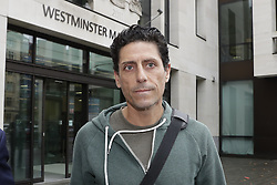 © Licensed to London News Pictures. 22/09/2016. London, UK. C J De Mooi, real name Joseph Connagh, leaves Westminster Magistrates Court in London where he faces extradition to Holland. Former panellist on the BBC quiz show Eggheads, who admitted in his autobiography to possibly killing someone while in Holland, was arrested on a European arrest warrant at Heathrow airport. Photo credit: Peter Macdiarmid/LNP